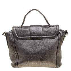 Lancel Metallic Grey Leather Satchel