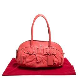 Lancel Coral Orange Leather Zip Satchel