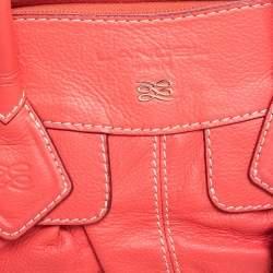 Lancel Coral Orange Leather Zip Satchel