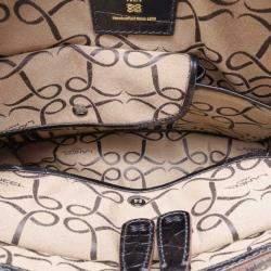 Lancel Black Leather Embossed Large Adjani Satchel