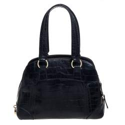 Lancel Black Croc Embossed Leather Adjani Satchel