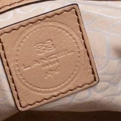 Lancel Beige Leather Zip Satchel