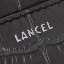 Lancel Khaki Green Croc Embossed Leather Chain Coin Purse
