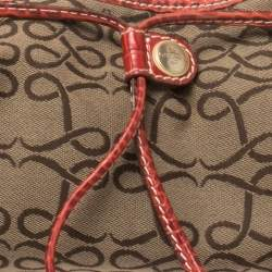 Lancel Brown/Red Signature Canvas and Croc Embossed Leather Shoulder Bag