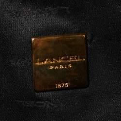 Lancel Beige/Black Python Printed Canvas and Leather Baguette