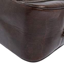 Lancel Dark Brown Lizard Embossed Leather Front Pocket Satchel