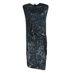 Lanvin Teal Blue Sequined Draped Sleeveless Dress S