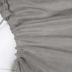 Lanvin Grey Gathered Tie Detail Draped Asymmetric Dress M