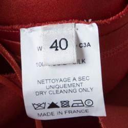 Lanvin Red Silk Draped Back Detail Sleeveless Dress M
