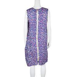 Lanvin Multicolor Animal Printed Silk Frayed Hem Pleat Detail Sleeveless Dress M