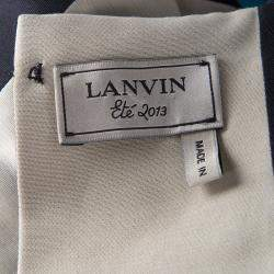 Lanvin Black and Cream Box Pleated Bow Detail Sleeveless Dress M