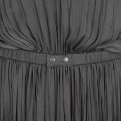 Lanvin Grey Draped Plisse Gathered Belted Maxi Dress S