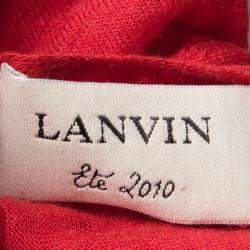 Lanvin Red Knit Ruffle Detail Halter Top S