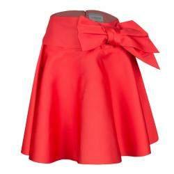 Lanvin Red Sash Bow Belt Detail Flared Circular Skirt S