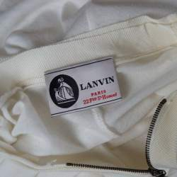 Lanvin Cream Ruched Detail Short Sleeve Tunic M