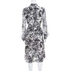 Lanvin Dark Grey Floral Printed Silk Belted Midi Dress S