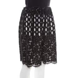 Lanvin Black Floral Cutout Lace Scalloped Bottom Gathered Skirt M