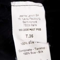 Lanvin Black Silk Organza Raw Edge Detail Sheer Yoke Layered Dress S