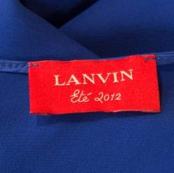 Lanvin Electric Blue Silk Sleeveless Draped Dress S
