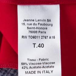 Lanvin Cherry Red Satin Neck Tie Detail Sleeveless Blouse M