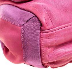 Lanvin Pink Leather and Fabric Shoulder Bag