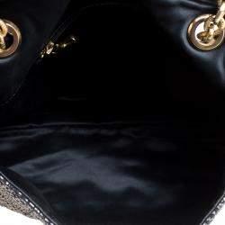 Lanvin Metallic Grey Quilted Ceramic Effect Leather Happy Shoulder Bag