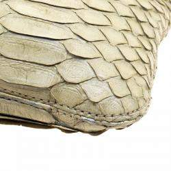 Lanvin Mint Green Python Embellish Crystal Chain Clutch