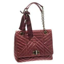 Lanvin Red Leather Medium Happy Classic Shoulder Bag