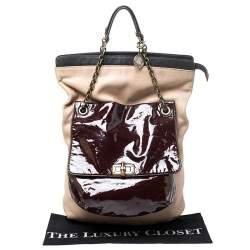Lanvin Multicolor Leather and Patent Foldover Shoulder Bag