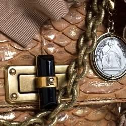 Lanvin Metallic Brown Python Mini Happy Shoulder Bag