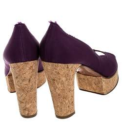 Lanvin Purple Canvas Peep Toe Platform Pumps Size 41
