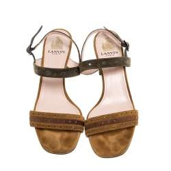 Lanvin Brown/Grey Suede Studded Ankle Strap Sandals Size 37.5