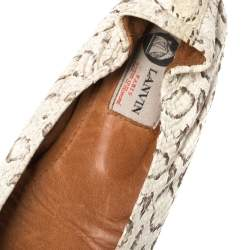 Lanvin White/Brown Python Embossed Leather Scrunch Ballet Flats Size 38