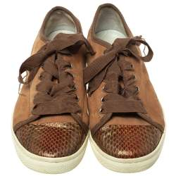 Lanvin Brown  Nubuck Leather And Glitter Python Cap Toe Sneakers Size 39.5