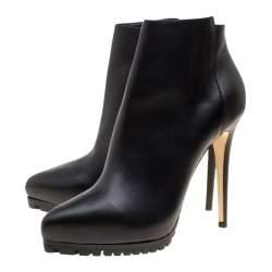 Le Silla Black Leather Platform Ankle Boots Size 40