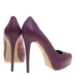 Le Silla Purple Leather Platform Pumps Size 38