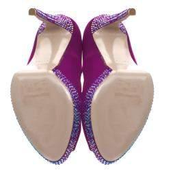 Le Silla Purple Satin Crystal Embellished Platform Peep Toe Pumps Size 38