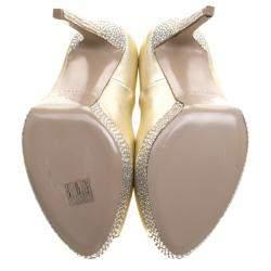 Le Silla Gold Metallic Leather Crystal Embellished Platform Peep Toe  Pumps Size 41