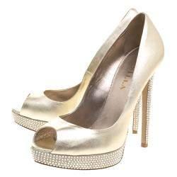 Le Silla Gold Metallic  Leather Crystal Embellished Platform  Peep Toe Pumps Size 38.5
