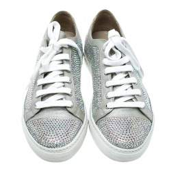 Le Silla Grey Crystal Embellished Suede Lace Up Sneakers Size 37