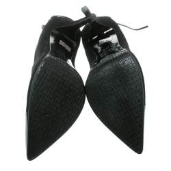 Le Silla Black Suede/Patent Lather Cap Toe Ankle Boots Size 37.5