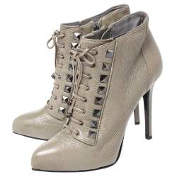 Le Silla Olive Green Leather Studded Pointed Toe Lace Up Ankle Booties Size 38