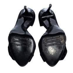 Le Silla Black Satin Bow D'Orsay Peep Toe Pumps Size 37