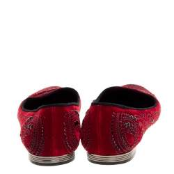 Le Silla Red Velvet Crystal Embellished Smoking Slippers Size 39