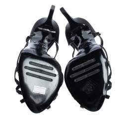 Le Silla Black Satin Crystal Embellished Platform Strappy Sandals Size 39