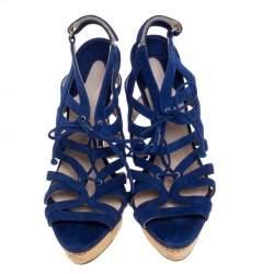 Le Silla Blue Suede Strappy Platform Sandals Size 39
