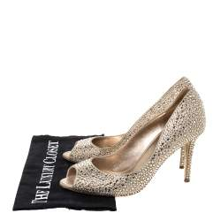 Le Silla Gold Glitter Leather Crystal Embellished Peep Toe Pumps Size 36