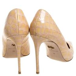 Le Silla Beige Croc Embossed Leather Eva Pointed Toe Pumps Size 38