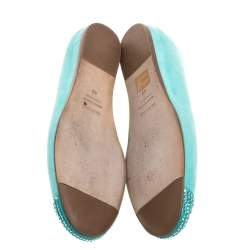 Le Silla Green Suede Crystals Embellished Ballet Flats Size 40