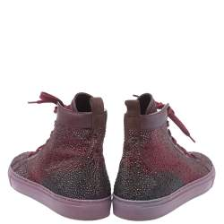 Le Silla Burgundy Crystal Embellished Leather High Top Sneakers Size 38